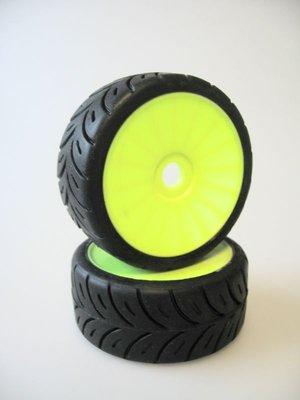 102502 - Rally game 1/8 tyre/wheel yellow 17mm hard - Xceed Reifen